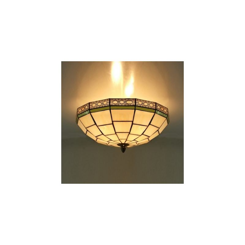 16 Inch White Stained Glass Green Edge Tiffany 3 Light Flush Mount Ceiling