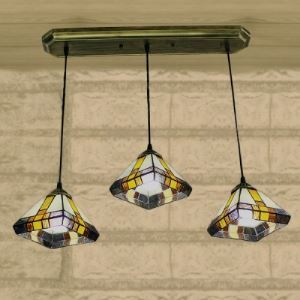 Bronze Long Base Diamond Stained Glass Tiffany 3-light Pendant Lighting