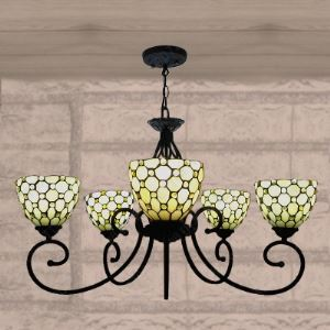 Five-light Chandelier Black Armed Beige Stained Glass in Tiffany Style