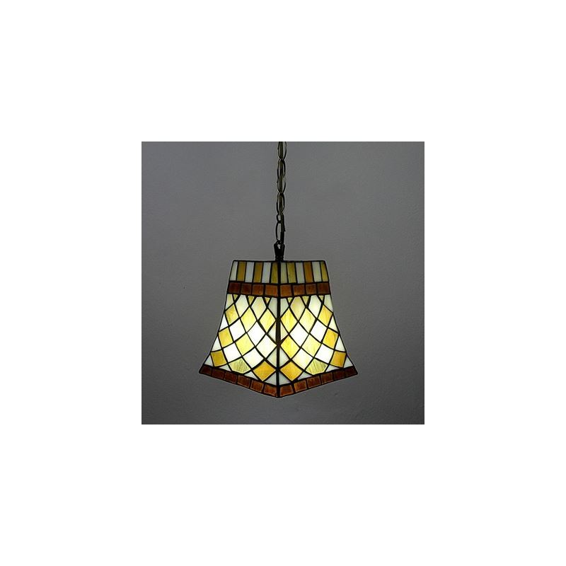 10 Inch Orange Grid Pattern Mini Hanging Pendant Lighting in Tiffany Stained Glass Style
