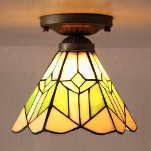 One Light 6 Inch White and Green Stained Glass Tiffany Flush Mount Ceiling Light
