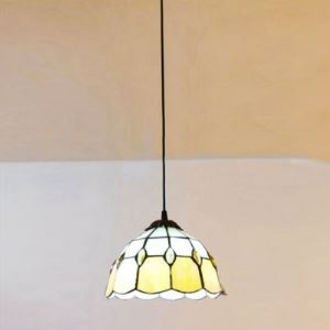 Yellow Stained Glass 8 Inch Tiffany One-light Hanging Pendant Lighting