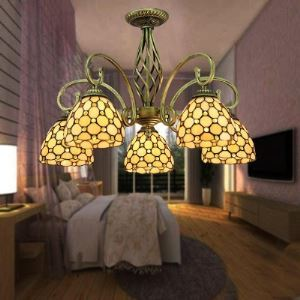 Downlight Bronze Finished 24 InchTiffany Five-light Chandelier