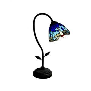 Flower Tiffany Desk Lamp Fixture with Dragonfly Flapping Wings Shape