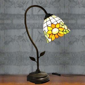 Brigde Armed 6 Inch Bell Shade Sunflower Motif Tiffany Table Lamp