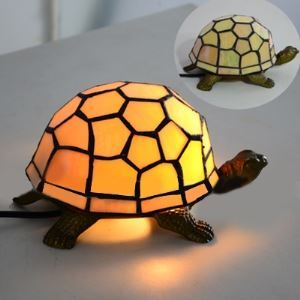 Golden Stained Glass Turtle Butterfly Design 9 Inch Night Light for Kids in Tiffany Style