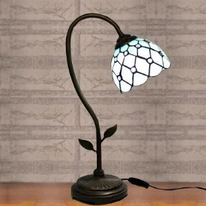 Bronze Armed Blue Stained Glass 20 Inch High Tiffany  Banker Table Lamp