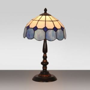 Tiffany Stained Glass Style Blue and White Grid Pattern 10 Inch Bedside Table Lamp