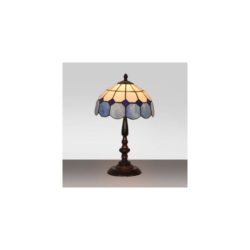 Tiffany stained glass style blue and white grid pattern 10 for 10 inch table lamps