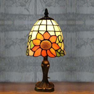 Mini Tiffany Table Lamp with Single Light Sunflower Motif