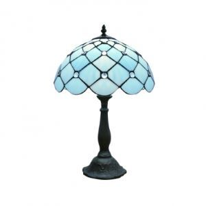 "Scalloped Edged 11.5"" W 17.5"" H Tiffany Lamp with Crystal Accent"
