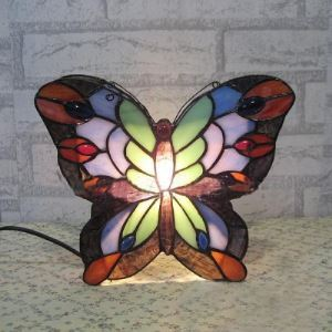 Standing Butterfly Design 10 Inch Mini Desk Night Light for Kids in Tiffany Style