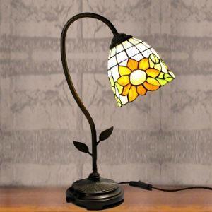 Black Finished Bridge Arm Sunflower Motif Tiffany Banker Table Lamp
