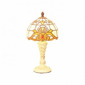Tiffany Glass Shade with Colorful Pattern Resin Table Lamp in Antique Brass Finish