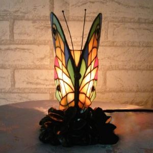 Tiffany Stained Glass Style Butterfly 5 Inch Mini Accent Night Light