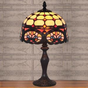 Resin Base Baroque Stained Glass 8 Inch Tiffany Bedside Table Lamp