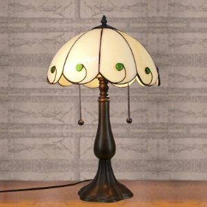 Traditional Bronze Finished White Stained Glass Tiffany Table Lamp with Pull Chain