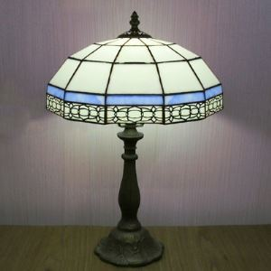 Mission Pattern12 Inch Bedside Table Lamp in Tiffany Blue and White Stained Glass Style
