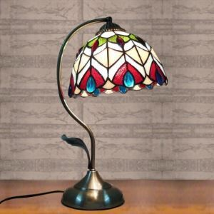 8 Inch Peacock Pattern Stained Glass Tiffany Banker Table Lamp