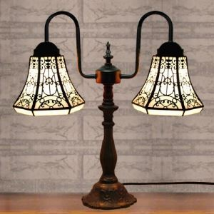 Lodge Style Downbridge Two-lighted Tiffany Table Lamp with Delicate Lines