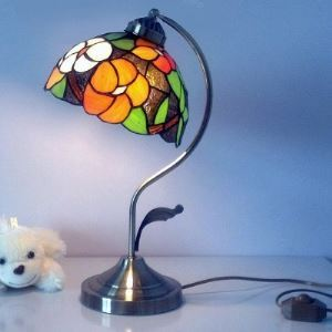 16 Inch High Blossom Motif Banker Piano Lamp Bronze Finish in Tiffany Style