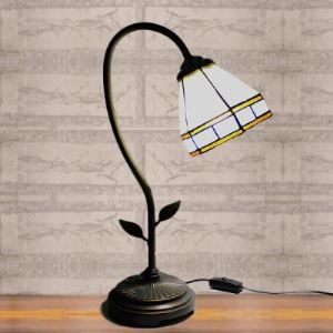 Country Style Cone Stained Glass 6 Inch Tiffany Banker Table Lamp