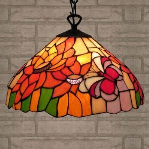 Study Room Bronze Base Butterfly Design 10 Inch Banker Light in Tiffany Style