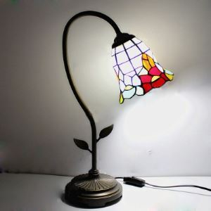 Brigde Arm 6 Inch Bell Shade Stained Glass Tiffany Table Lamp