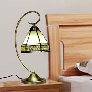 Brass Bridge Armed White Stained Glass Tiffany One-light Banker Table Lamp