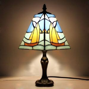 Beside Lamp Blue Stained Glass Tiffany One-light Desk Lamp