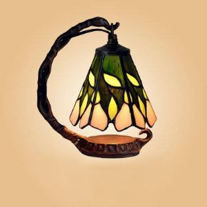 Mini Blossom and Leaf Motif One-light Stained Glass 8 Inch Tiffany Night Lamp