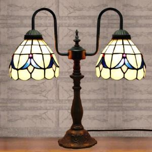 White Stained Glass 16 Inch Two-light Black Finish Buffet Table Lamp in Tiffany Style