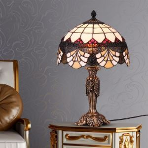 Antique Leaf Shape Base Tiffany Table Lamp with Scalloped Edge
