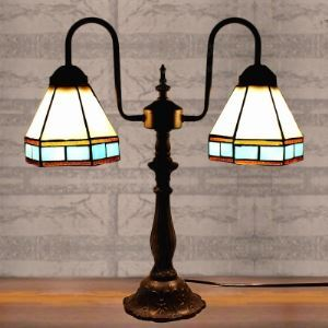 Black Blue and Beige Stained Glass Tiffany Two-light Buffet Table Lamp