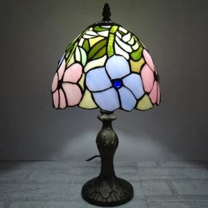 Big Morning Glory Floral Motif Tiffany Table Lamp Country Style
