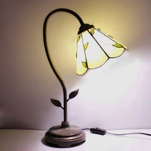 8 Inch White Stained Glass Leaf Accented One-light Tiffany Banker Lamp