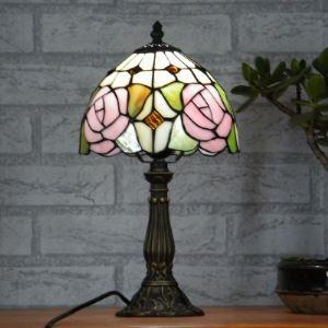 Black Finished Base 8 Inch Tiffany Pink Rose Motif Table Lamp