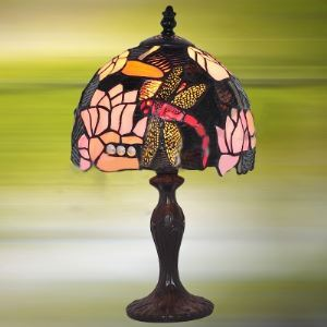 Pink Waterlily Country Style 12 Inch Wide Tiffany Table Lamp with Dragonfly Pattern