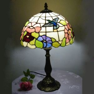 Country Style 12 Inch Wide Tiffany Butterfly Flower Pattern Table Lamp
