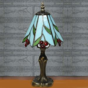 Nature Country Style 6 Inch Blue Stained Glass One-light Cherry Tiffany Desk Lamp