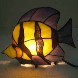 Fish Shape 11 Inch Kids Room Mini Night Light in Tiffany Stained Glass Style