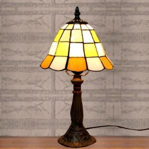 Mini Style Geometric Yellow Grid Stained Glass Tiffany One-light Desk Lamp