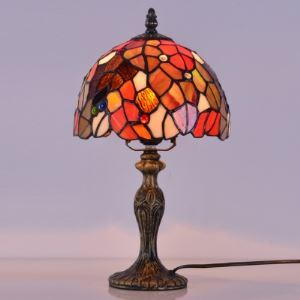 Bowl Shade Leaf Motif 8 Inch One-light Tiffany Style Table Lamp