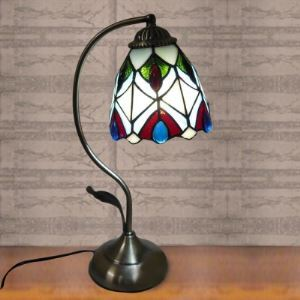 6 Inch Peacock Stained Glass Tiffany Style Banker Piano Table Lamp
