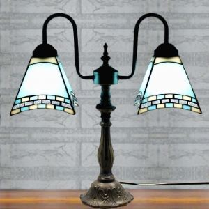 Mission Style Blue Stained Glass Tiffany Two-light Buffet Table Lamp