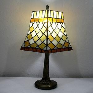 Orange Diamond Pattern 10 Inch Mini Desk Lamp in Tiffany Stained Glass Style