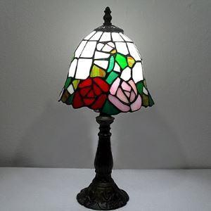 Elegant Black Base Tiffany Red Rose Pattern Motif Table Lamp