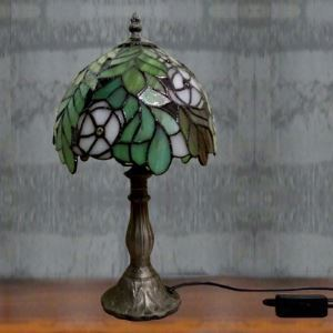 Green Leaf Downward Tiffany Style Table Lamp with Leaf Pattern