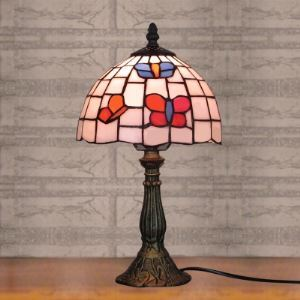 Tiffany 8 Inch Desk Lamp for Bedside in Butterfly Design Country Style