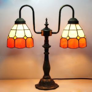 Orange Shade 16 Inch Two Lighted Buffet  Table Lamp in Tiffany Stained Glass Style